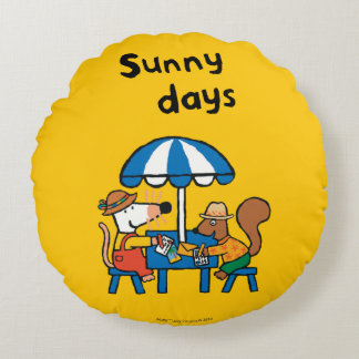 Maisy Writes Postcards under Blue Umbrella Round Cushion