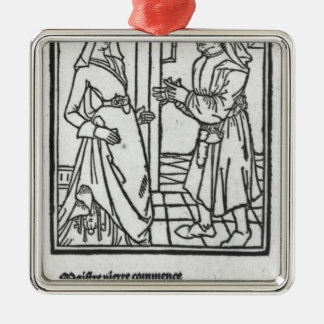 Maitre Pathelin and Guillemette Silver-Colored Square Decoration