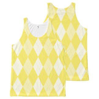 Maize Yellow Argyle Pale Gold Small Diamond Shape All-Over Print Tank Top