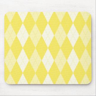 Maize Yellow Argyle Pale Gold Small Diamond Shape Mouse Mat