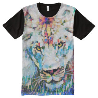 Majestic African Lion Post Impressionism Art All-Over Print T-Shirt