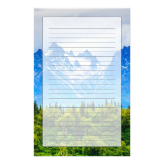 Majestic Alaska Mountains Personalized Stationery