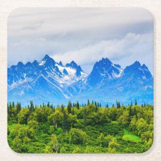 Majestic Alaska Mountains Square Paper Coaster