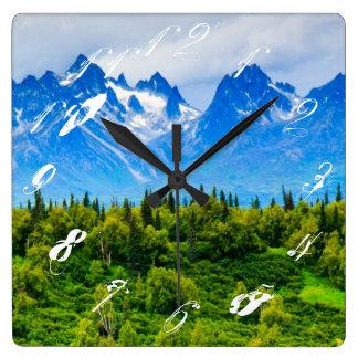 Majestic Alaska Mountains Wall Clocks
