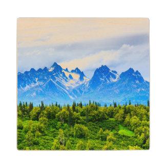 Majestic Alaska Mountains Wood Coaster