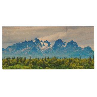 Majestic Alaska Mountains Wood USB 2.0 Flash Drive