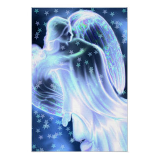 Majestic Blue Angel With Stars Canvas Print