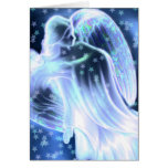 Majestic Blue Angel With Stars Greeting Card