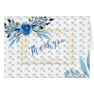Majestic Blue Flowers Ornate Frame Thank You Card