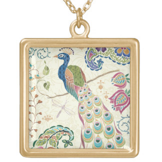 Majestic Blue Peacock Gold Plated Necklace