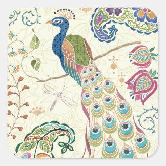 Majestic Blue Peacock Square Sticker