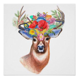 Majestic Bohemian Wildflower Deer Poster
