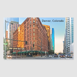 Majestic Brown Palace Hotel At Sunset, Denver, CO Rectangular Sticker