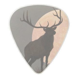 Majestic Bull Elk and Full Moon Rise Acetal Guitar Pick