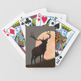 Majestic Bull Elk and Full Moon Rise Bicycle Playing Cards