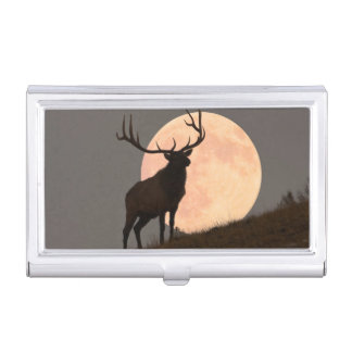 Majestic Bull Elk and Full Moon Rise Business Card Holder