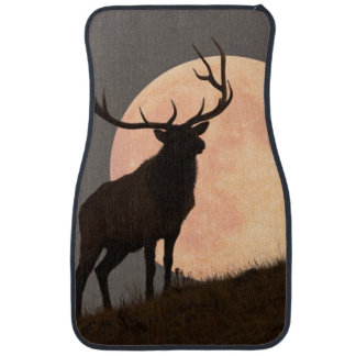 Majestic Bull Elk and Full Moon Rise Car Mat