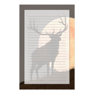 Majestic Bull Elk and Full Moon Rise Customised Stationery
