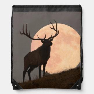 Majestic Bull Elk and Full Moon Rise Drawstring Bag
