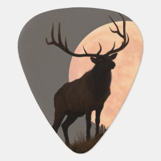 Majestic Bull Elk and Full Moon Rise Guitar Pick