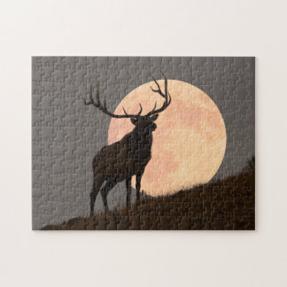 Majestic Bull Elk and Full Moon Rise Jigsaw Puzzle