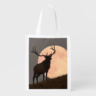 Majestic Bull Elk and Full Moon Rise Reusable Grocery Bag
