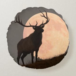 Majestic Bull Elk and Full Moon Rise Round Cushion