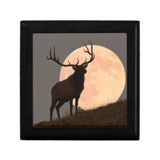 Majestic Bull Elk and Full Moon Rise Small Square Gift Box