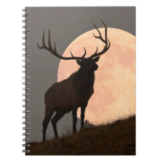 Majestic Bull Elk and Full Moon Rise Spiral Notebook