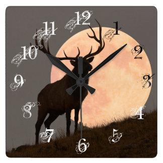 Majestic Bull Elk and Full Moon Rise Square Wall Clock