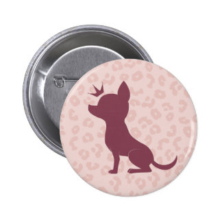 Majestic Chihuahua on Pink Leopard Print 6 Cm Round Badge