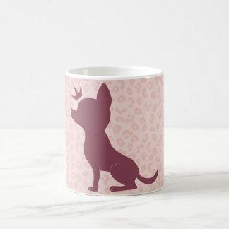 Majestic Chihuahua on Pink Leopard Print Basic White Mug