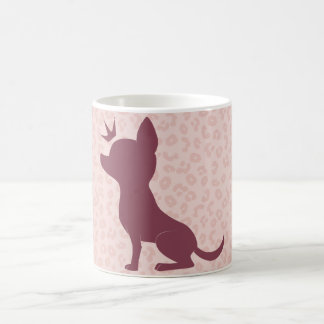Majestic Chihuahua on Pink Leopard Print Coffee Mug