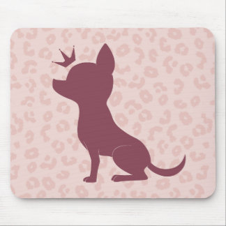 Majestic Chihuahua on Pink Leopard Print Mouse Mat