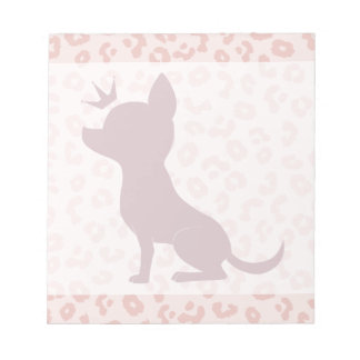 Majestic Chihuahua on Pink Leopard Print Note Pad