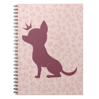 Majestic Chihuahua on Pink Leopard Print Notebook