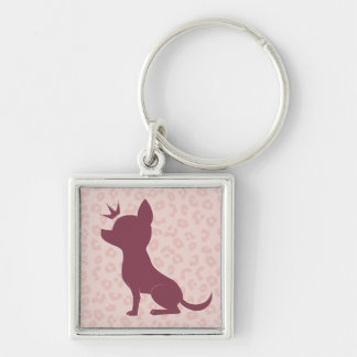 Majestic Chihuahua on Pink Leopard Print Silver-Colored Square Key Ring