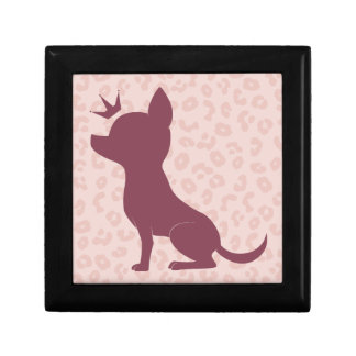Majestic Chihuahua on Pink Leopard Print Small Square Gift Box