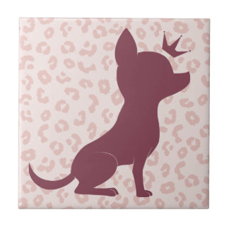 Majestic Chihuahua on Pink Leopard Print Small Square Tile