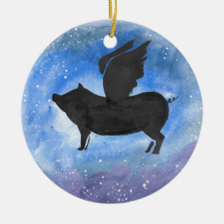Majestic Flying Pig Christmas Ornament