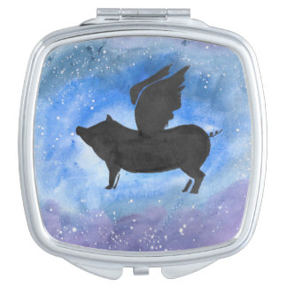 Majestic Flying Pig Compact Vanity Mirrors