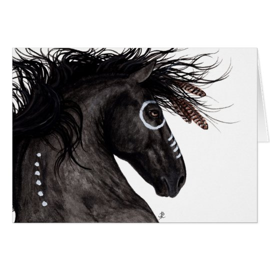 Majestic Friesian Horse Native American by BiHrLe Card