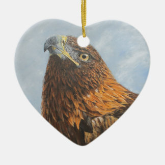 Majestic Golden Eagle Ceramic Heart Decoration