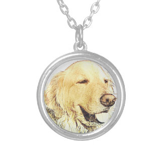 Majestic Golden Retriever Silver Plated Necklace
