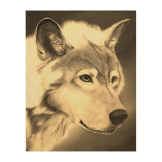 Majestic Gray Wolf Sepia Toned Wood Wall Art