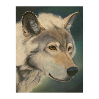Majestic Gray Wolf Wood Wall Art