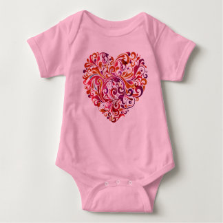 Majestic Heart Abstract Pink Baby Bodysuit