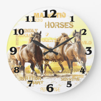 Majestic Horses Round Wall Clock - Large