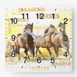 Majestic Horses Square Wall Clock