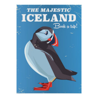 Majestic Iceland Puffin vintage travel poster